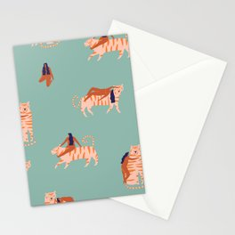 Tigers and girls Stationery Cards
