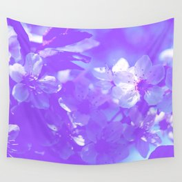 Blue Spring flowers minimalist and simple design Wall Tapestry