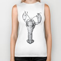 lobster Biker Tanks featuring Lobster by Isabel Moffly