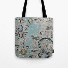 Aqua and Gray Vintage Kilim Square Tote Bag