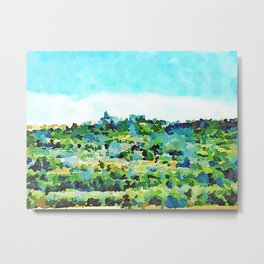Travel by train from Teramo to Rome: landscape with village Metal Print