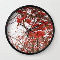 daria Wall Clocks featuring rowan-tree by Dar'ya Vlasova