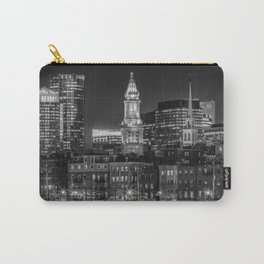 BOSTON Evening Skyline of North End & Financial District | Monochrome Carry-All Pouch