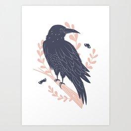 Good omen - forest raven Art Print