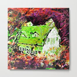 Old Barn Among Brambles Metal Print