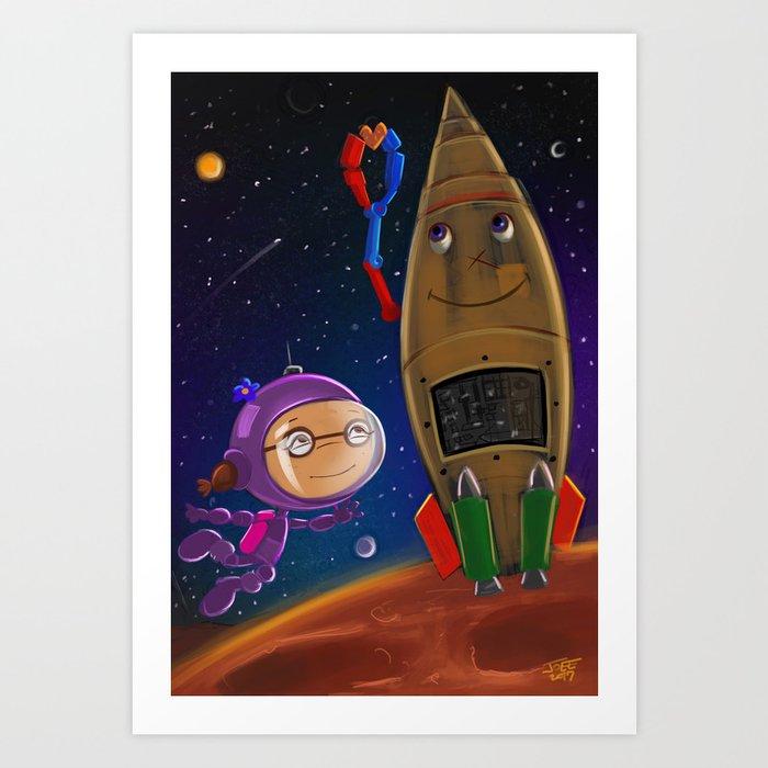 Go Go Greta Goes to Space Art Print