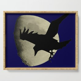 Raven Flying Across The Moon Serving Tray