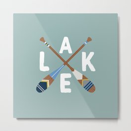 LAKE LIFE Painted Paddle Oars Metal Print