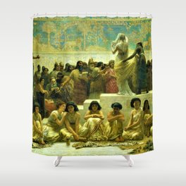 Classical Masterpiece The Slave Market Of Babylon by Edwin Long Shower Curtain