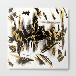 Modern abstract hand painted black gold foil acrylic paint brushstrokes Metal Print