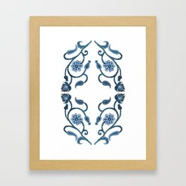 Blue Paisley Double Heart 1 Framed Art Print