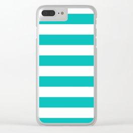 Horizontal stripes / tiffany blue Clear iPhone Case