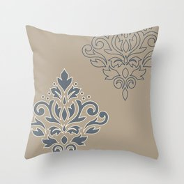 Scroll Damask Art I (outline) Crm Blues Taupe Throw Pillow