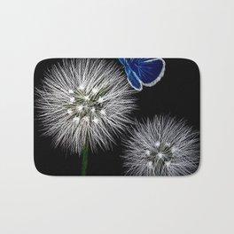 butterfly blue on dandelion Bath Mat