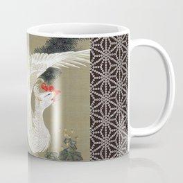 Jakuchu Phoenix with Hemp Pattern Background Coffee Mug