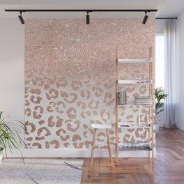Trendy modern faux rose gold glitter ombre leopard pattern Wall Mural
