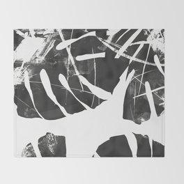 Monstera Leaf Black Throw Blanket