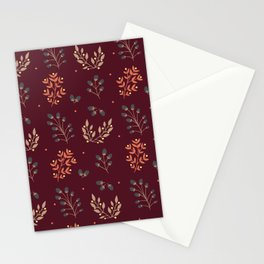 RED MERLOT FLORAL FALL Stationery Cards