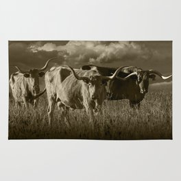 Sepia Tone of Texas Longhorn Steers under a Cloudy Sky Rug