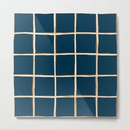 Indigo blue plaid, pool tiles pattern, tartan Metal Print