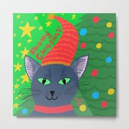 Christmas Cat short blue-grey hair green eyes Metal Print