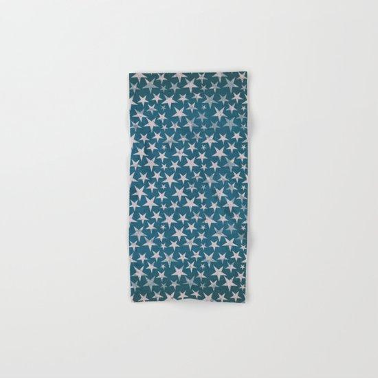 White stars on grunge textured blue background Hand & Bath Towel