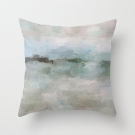Sage Green Sky Blue Blush Pink Abstract Nature Sunrise Reflection Wall Art Painting Land Sky Earth Throw Pillow