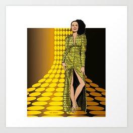 1970 Gold Polka Dot Dress Art Print