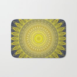 Bright Gold Navy Bohemian Mandala Bath Mat