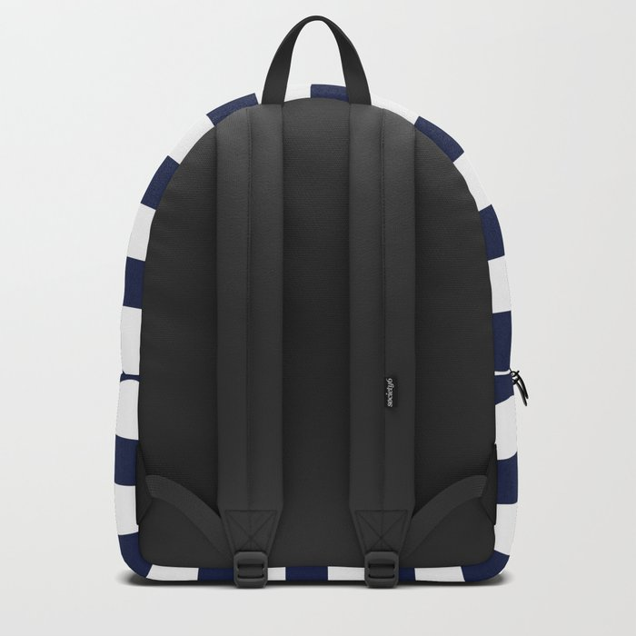 Nautical Navy Blue and White Stripes Backpack
