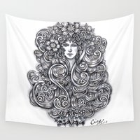 """flora Wall Tapestries featuring """"Flora"""" by Cindy Lysonski - Creative Daydreamzzzz"""