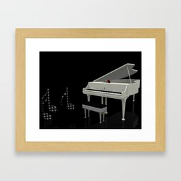 Piano and the Music notes Framed Art Print