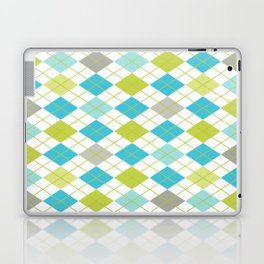 Retro 1980s Argyle Geometric Pattern in Modern Bright Colors Blue Green and Gray Laptop & iPad Skin
