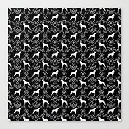 Boxer florals silhouette black and white floral pattern dog portrait dog breeds boxers Canvas Print