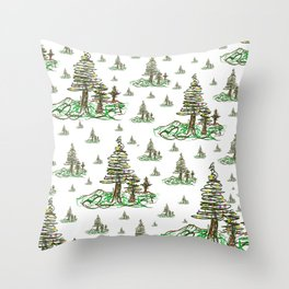 Trees on White Throw Pillow