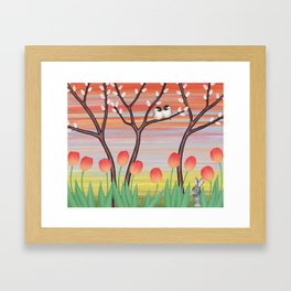 chickadees, pussy willow, & tulips Framed Art Print