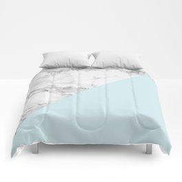 Marble + Pastel Blue Comforters