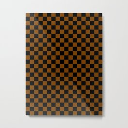 Black and Chocolate Brown Checkerboard Metal Print