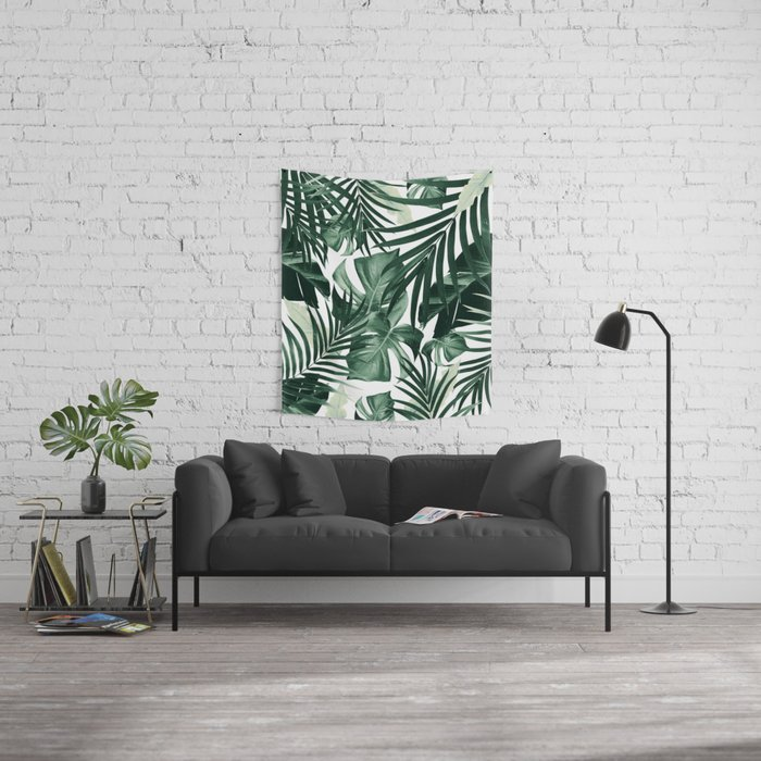 Tropical Jungle Leaves Pattern #4 #tropical #decor #art #society6 Wall Tapestry