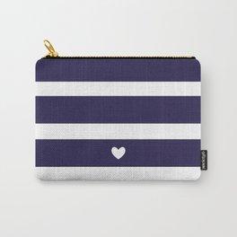 Preppy Navy Blue Stripes Carry-All Pouch