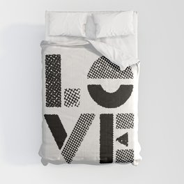 LOVE black-white contemporary minimalist vintage typography poster design home wall decor bedroom Comforters