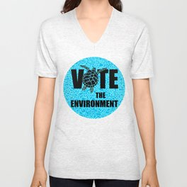 Actions Speak Louder - Sea Turtle design for the Vote the Environment Campaign, Black Dwarf Designs Unisex V-Neck