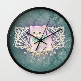 Kitschy Pearl Kitten Wall Clock
