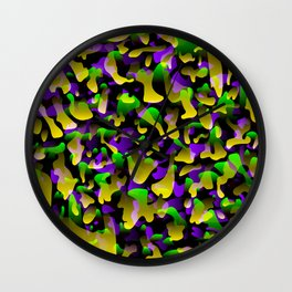 Creative spotted yellow and colored spots and splashes of paint. Wall Clock