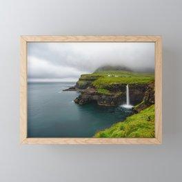 Gásadalur waterfall in Faroe islands Framed Mini Art Print