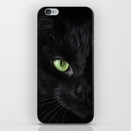Black cat   Witchy cat   Green eyes   Cat love   Happy halloween iPhone Skin