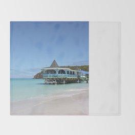 Tropical Paradise Pier on Antigua Throw Blanket