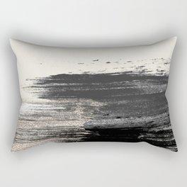 Artistic ivory black gold glitter paint brushstrokes Rectangular Pillow