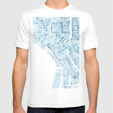 Map Seattle Washington Blueprint watercolor map White MEDIUM Mens Fitted Tee
