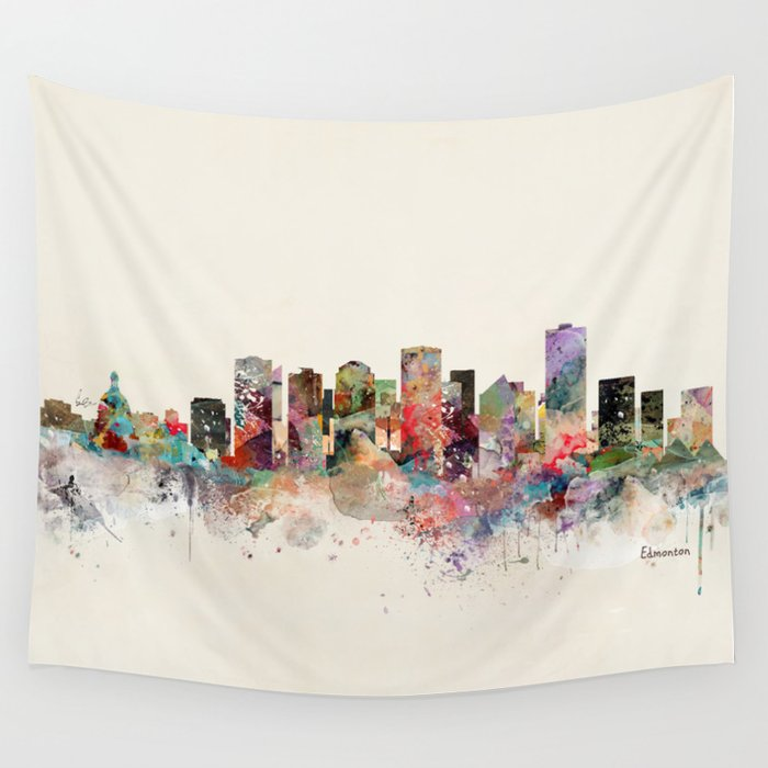 Edmonton Canada Skyline Wall Tapestry
